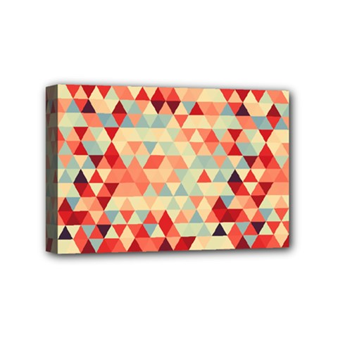 Modern Hipster Triangle Pattern Red Blue Beige Mini Canvas 6  x 4