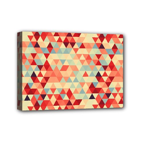 Modern Hipster Triangle Pattern Red Blue Beige Mini Canvas 7  x 5