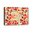Modern Hipster Triangle Pattern Red Blue Beige Mini Canvas 7  x 5  View1