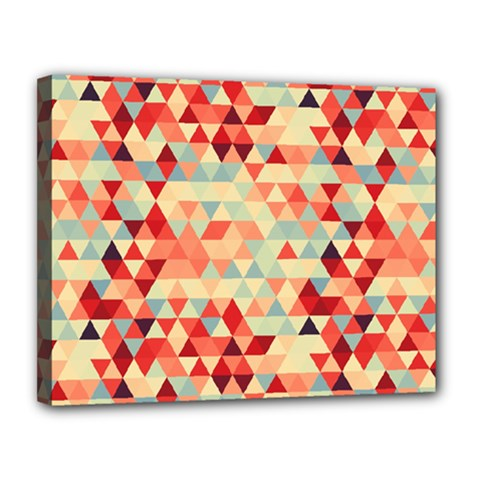 Modern Hipster Triangle Pattern Red Blue Beige Canvas 14  x 11