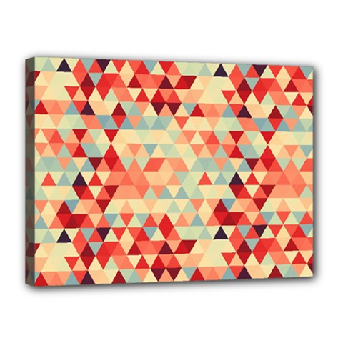 Modern Hipster Triangle Pattern Red Blue Beige Canvas 16  X 12