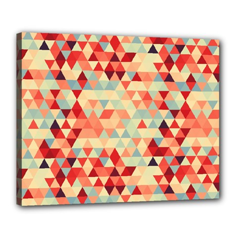 Modern Hipster Triangle Pattern Red Blue Beige Canvas 20  X 16