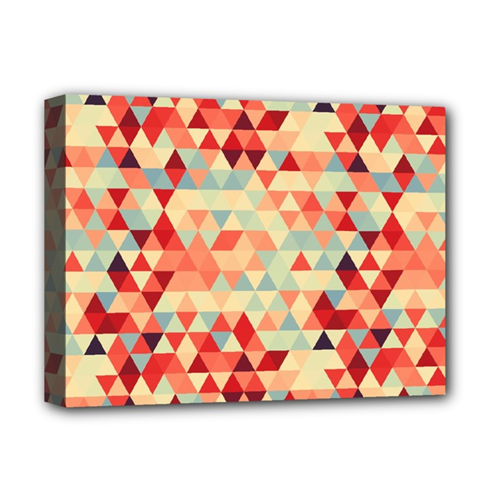 Modern Hipster Triangle Pattern Red Blue Beige Deluxe Canvas 16  x 12