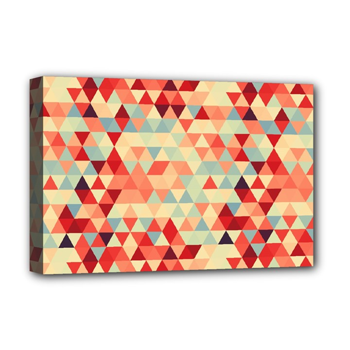 Modern Hipster Triangle Pattern Red Blue Beige Deluxe Canvas 18  x 12