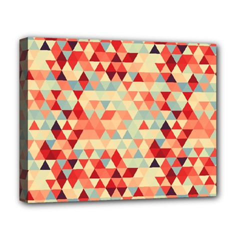 Modern Hipster Triangle Pattern Red Blue Beige Deluxe Canvas 20  X 16