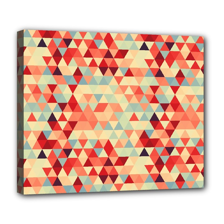Modern Hipster Triangle Pattern Red Blue Beige Deluxe Canvas 24  x 20