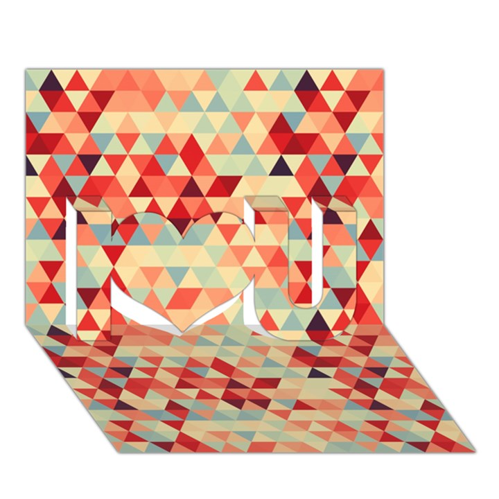Modern Hipster Triangle Pattern Red Blue Beige I Love You 3D Greeting Card (7x5)