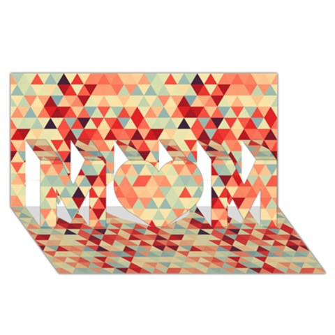 Modern Hipster Triangle Pattern Red Blue Beige MOM 3D Greeting Card (8x4)
