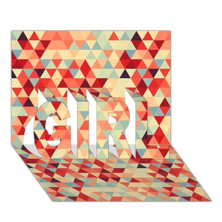 Modern Hipster Triangle Pattern Red Blue Beige GIRL 3D Greeting Card (7x5)