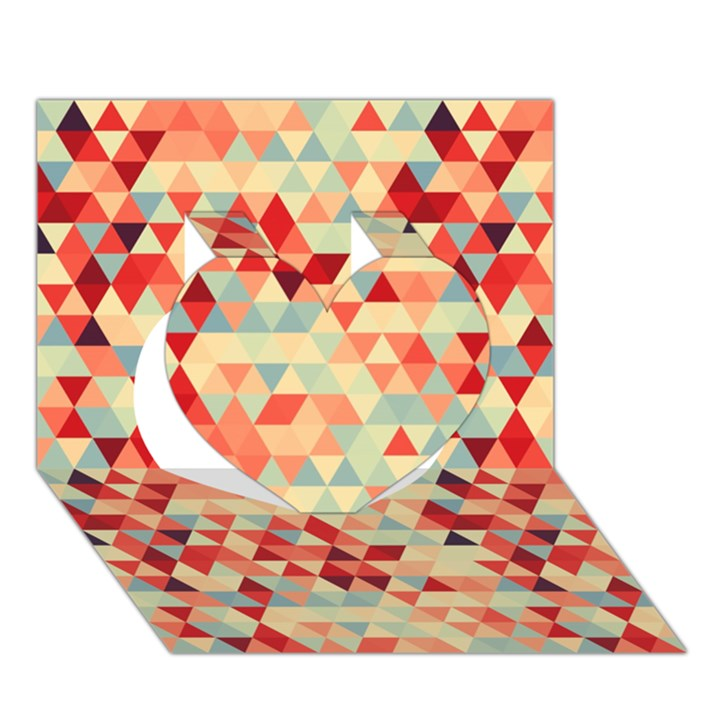 Modern Hipster Triangle Pattern Red Blue Beige Heart 3D Greeting Card (7x5)