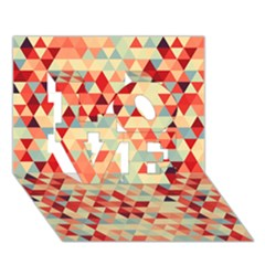 Modern Hipster Triangle Pattern Red Blue Beige Love 3d Greeting Card (7x5)
