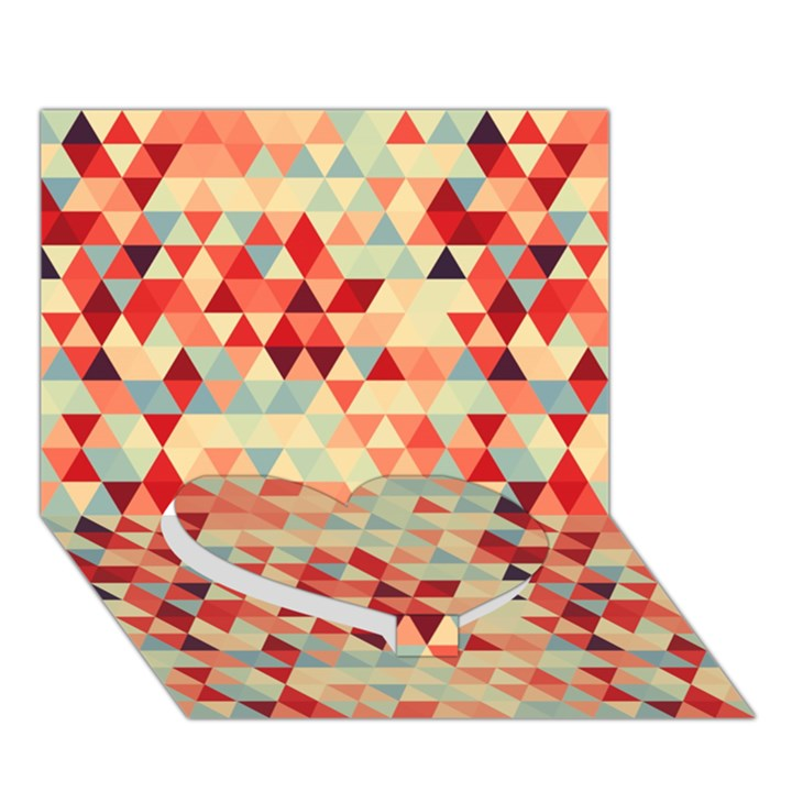 Modern Hipster Triangle Pattern Red Blue Beige Heart Bottom 3D Greeting Card (7x5)