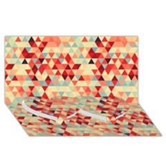 Modern Hipster Triangle Pattern Red Blue Beige Twin Heart Bottom 3D Greeting Card (8x4)