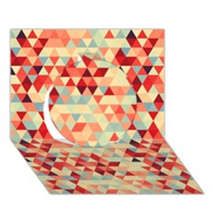 Modern Hipster Triangle Pattern Red Blue Beige Circle 3d Greeting Card (7x5)