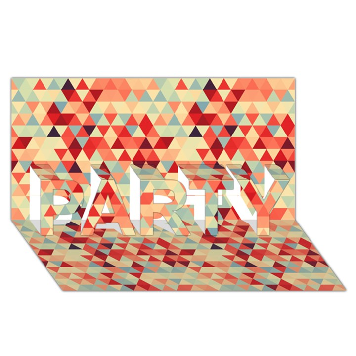 Modern Hipster Triangle Pattern Red Blue Beige PARTY 3D Greeting Card (8x4)