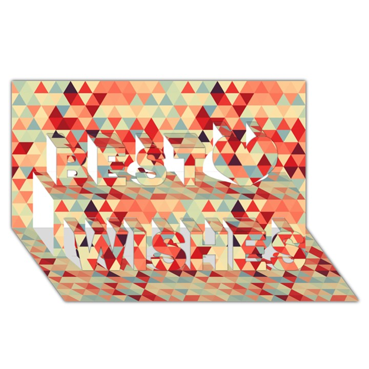 Modern Hipster Triangle Pattern Red Blue Beige Best Wish 3D Greeting Card (8x4)