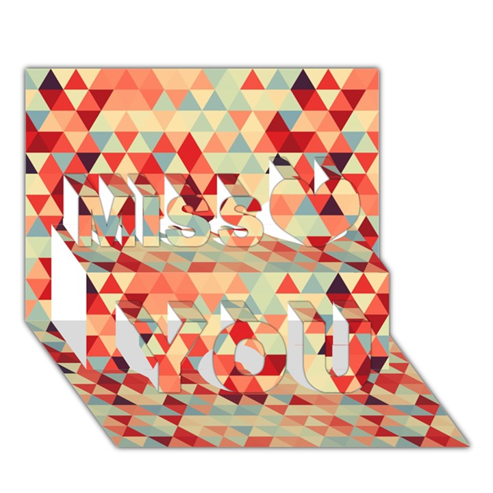 Modern Hipster Triangle Pattern Red Blue Beige Miss You 3D Greeting Card (7x5)