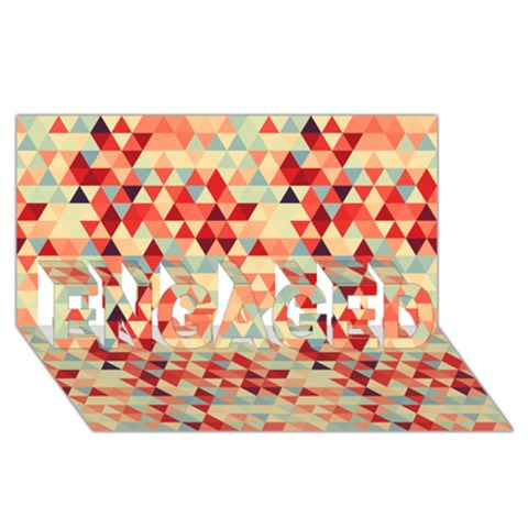 Modern Hipster Triangle Pattern Red Blue Beige ENGAGED 3D Greeting Card (8x4)