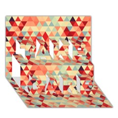 Modern Hipster Triangle Pattern Red Blue Beige Take Care 3d Greeting Card (7x5)