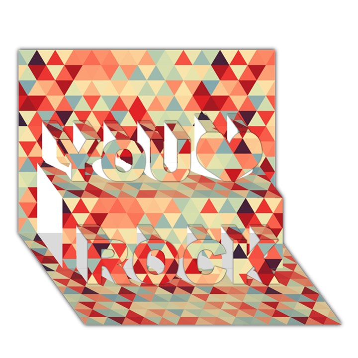Modern Hipster Triangle Pattern Red Blue Beige You Rock 3D Greeting Card (7x5)