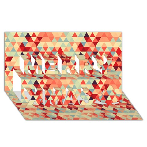 Modern Hipster Triangle Pattern Red Blue Beige Merry Xmas 3D Greeting Card (8x4)