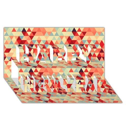 Modern Hipster Triangle Pattern Red Blue Beige Happy New Year 3D Greeting Card (8x4)