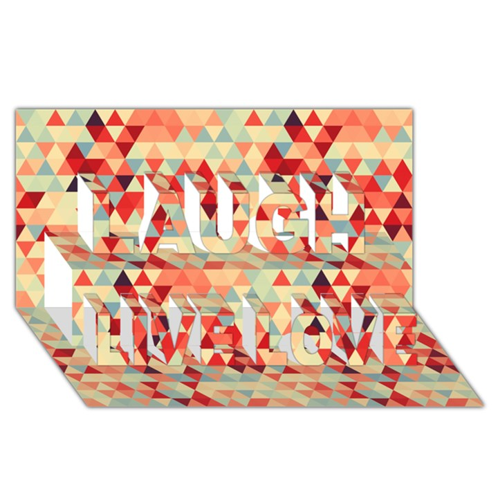 Modern Hipster Triangle Pattern Red Blue Beige Laugh Live Love 3D Greeting Card (8x4)