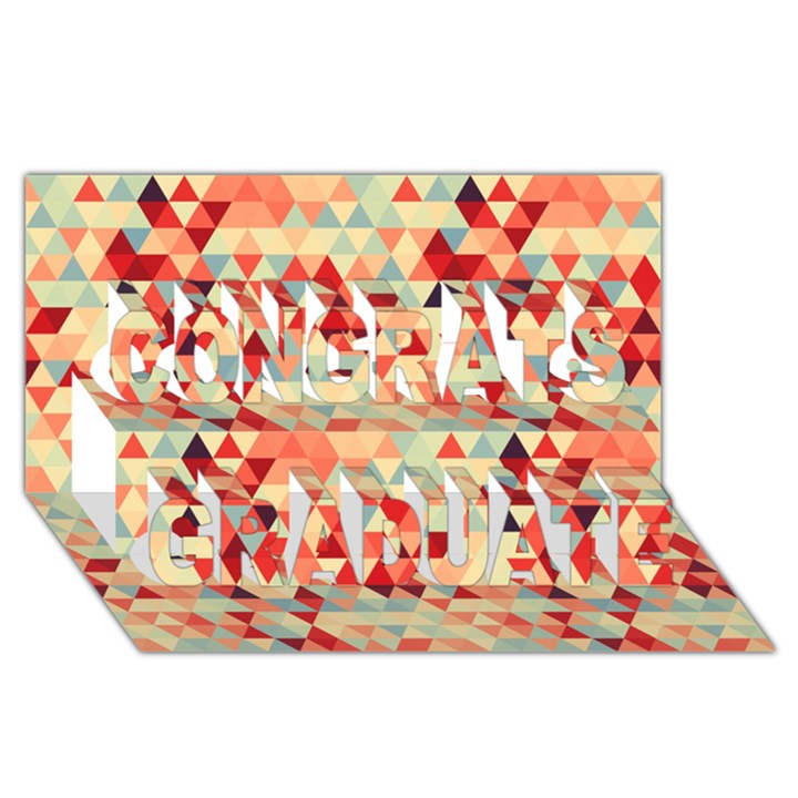 Modern Hipster Triangle Pattern Red Blue Beige Congrats Graduate 3D Greeting Card (8x4)