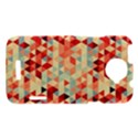 Modern Hipster Triangle Pattern Red Blue Beige HTC One X Hardshell Case  View1