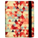 Modern Hipster Triangle Pattern Red Blue Beige Apple iPad 2 Flip Case View2
