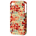 Modern Hipster Triangle Pattern Red Blue Beige Apple iPhone 4/4S Hardshell Case (PC+Silicone) View3