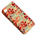 Modern Hipster Triangle Pattern Red Blue Beige Apple iPhone 4/4S Hardshell Case (PC+Silicone) View5