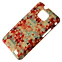 Modern Hipster Triangle Pattern Red Blue Beige Samsung Galaxy S II i9100 Hardshell Case (PC+Silicone) View4
