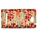 Modern Hipster Triangle Pattern Red Blue Beige HTC 8S Hardshell Case View1