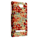 Modern Hipster Triangle Pattern Red Blue Beige HTC 8S Hardshell Case View2