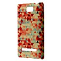 Modern Hipster Triangle Pattern Red Blue Beige HTC 8S Hardshell Case View3