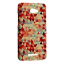 Modern Hipster Triangle Pattern Red Blue Beige HTC Butterfly X920E Hardshell Case View2
