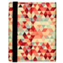 Modern Hipster Triangle Pattern Red Blue Beige Samsung Galaxy Tab 8.9  P7300 Flip Case View3