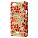 Modern Hipster Triangle Pattern Red Blue Beige Sony Xperia Miro View3