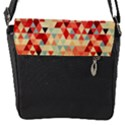 Modern Hipster Triangle Pattern Red Blue Beige Flap Messenger Bag (S) View1