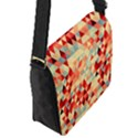 Modern Hipster Triangle Pattern Red Blue Beige Flap Messenger Bag (S) View2