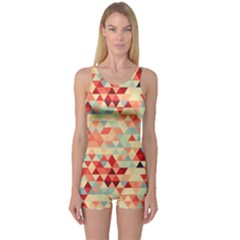 Modern Hipster Triangle Pattern Red Blue Beige One Piece Boyleg Swimsuit