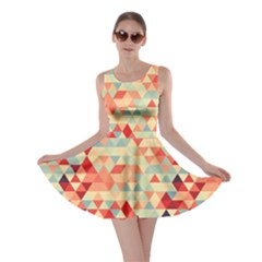 Modern Hipster Triangle Pattern Red Blue Beige Skater Dress