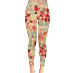 Modern Hipster Triangle Pattern Red Blue Beige Leggings