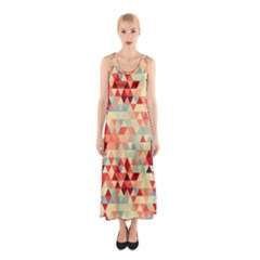 Modern Hipster Triangle Pattern Red Blue Beige Sleeveless Maxi Dress