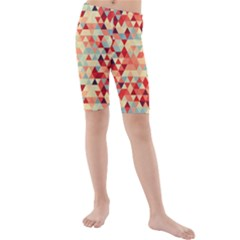 Modern Hipster Triangle Pattern Red Blue Beige Kids  Mid Length Swim Shorts