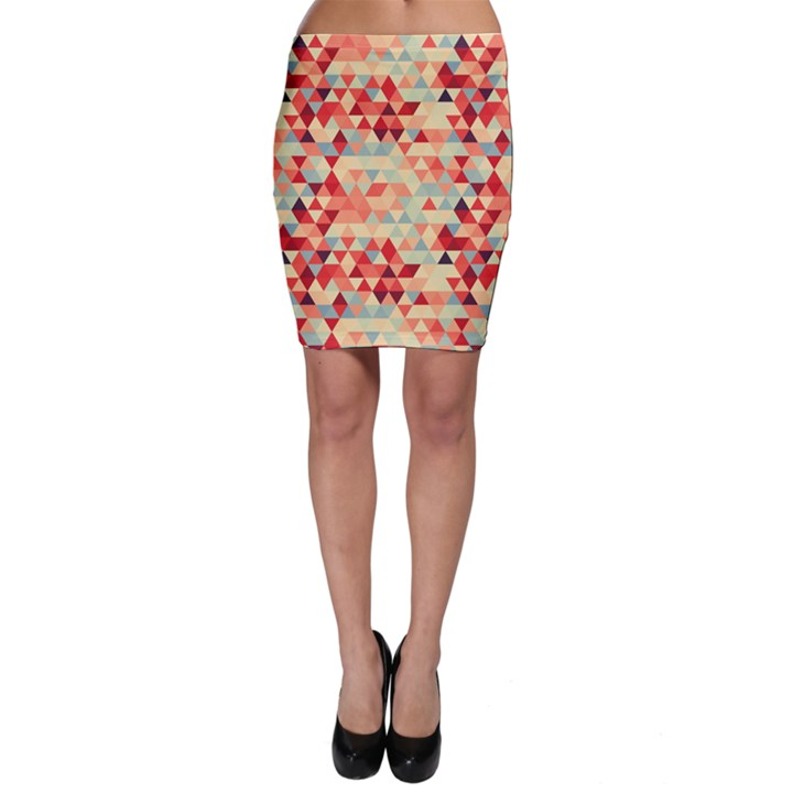 Modern Hipster Triangle Pattern Red Blue Beige Bodycon Skirt