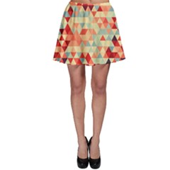 Modern Hipster Triangle Pattern Red Blue Beige Skater Skirt