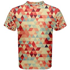 Modern Hipster Triangle Pattern Red Blue Beige Men s Cotton Tee
