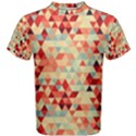 Modern Hipster Triangle Pattern Red Blue Beige Men s Cotton Tee View1